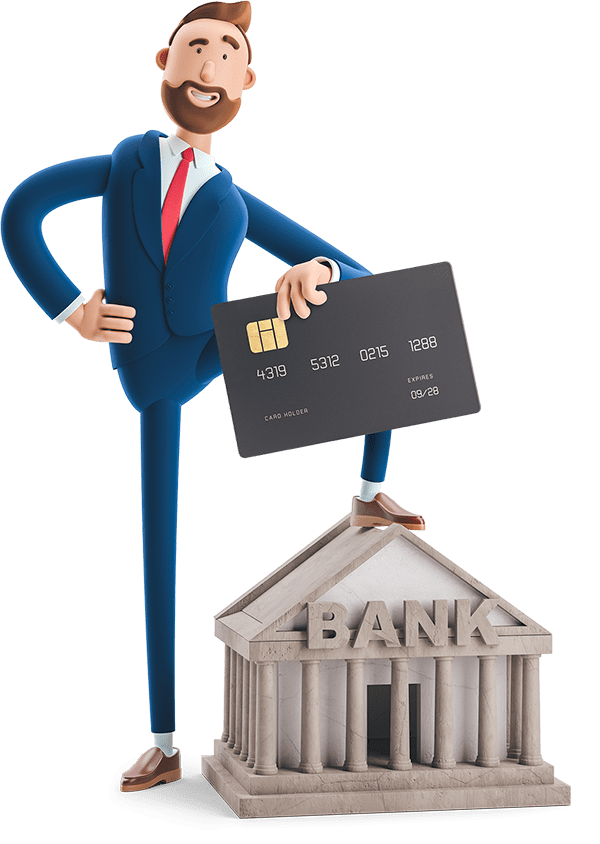 Billy with his foot on a mini banking institute holding an oversized credit card