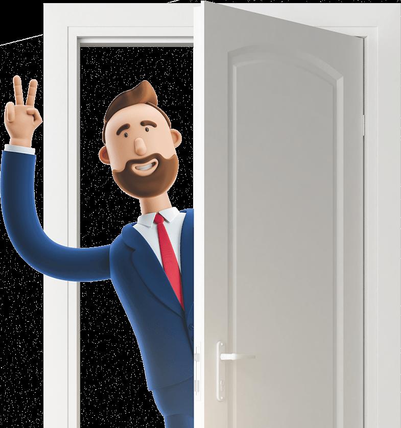 Billy waving through a door
