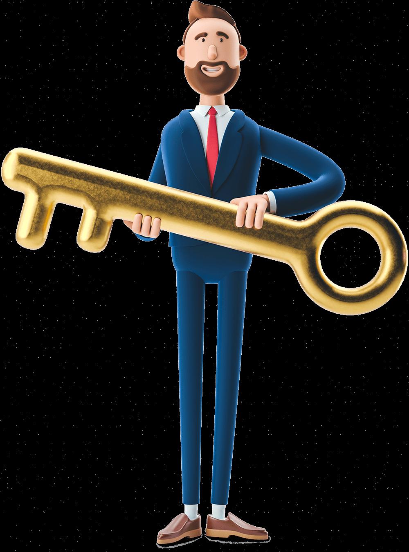 Billy holding a giant key