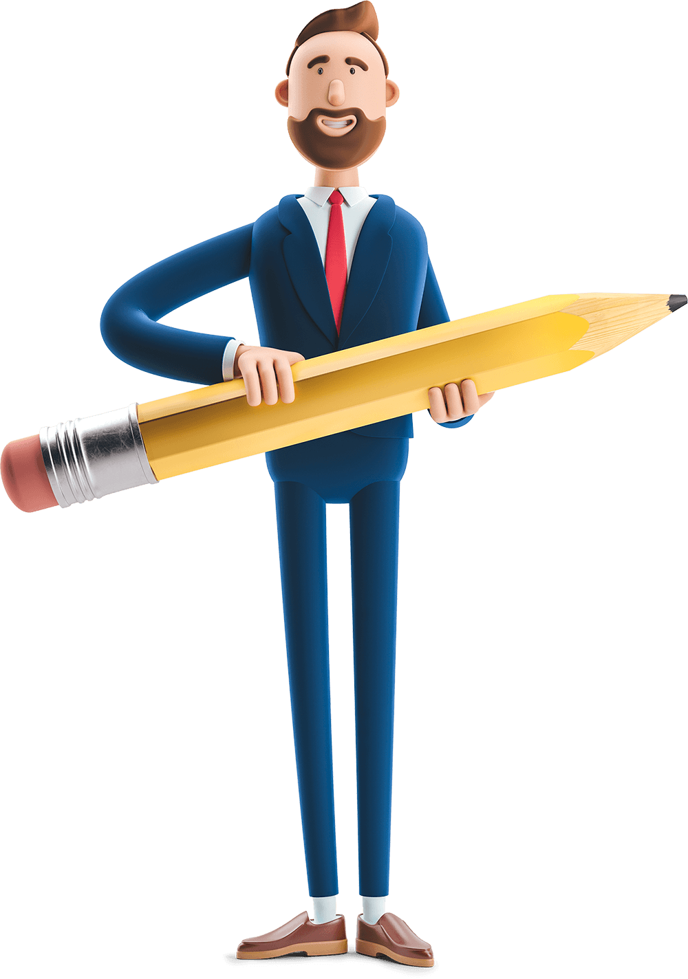 Billy holding a giant pencil