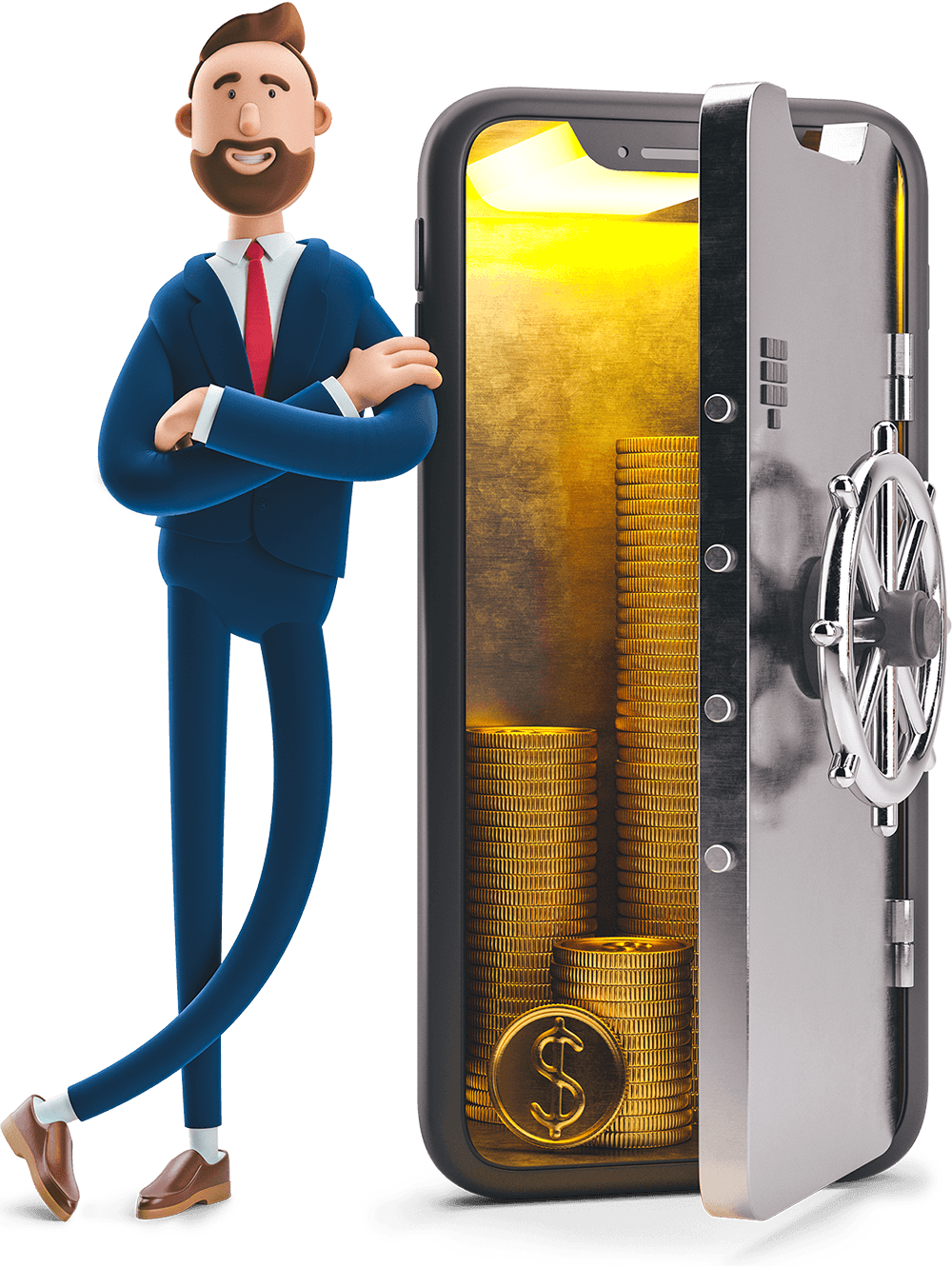 Billy leaning on a bank safe