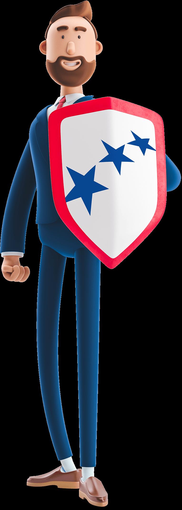 Billy holding a shield