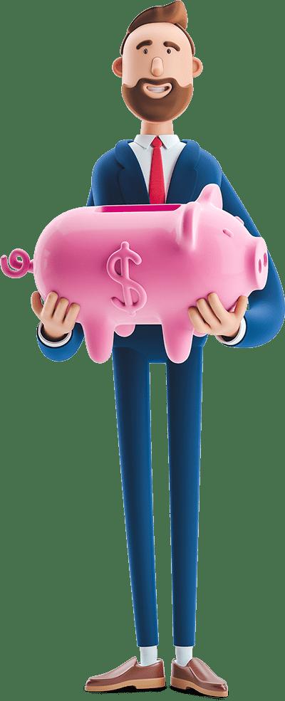 Billy holding a piggy bank