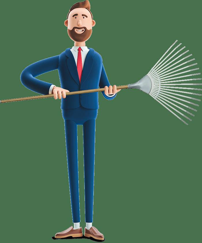 Billy holding a rake