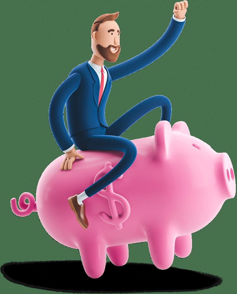Billy riding a piggy bank