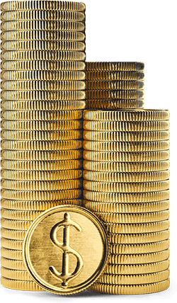 Two giant stacks of coins