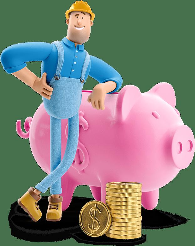 Hank leaning on a piggy bank
