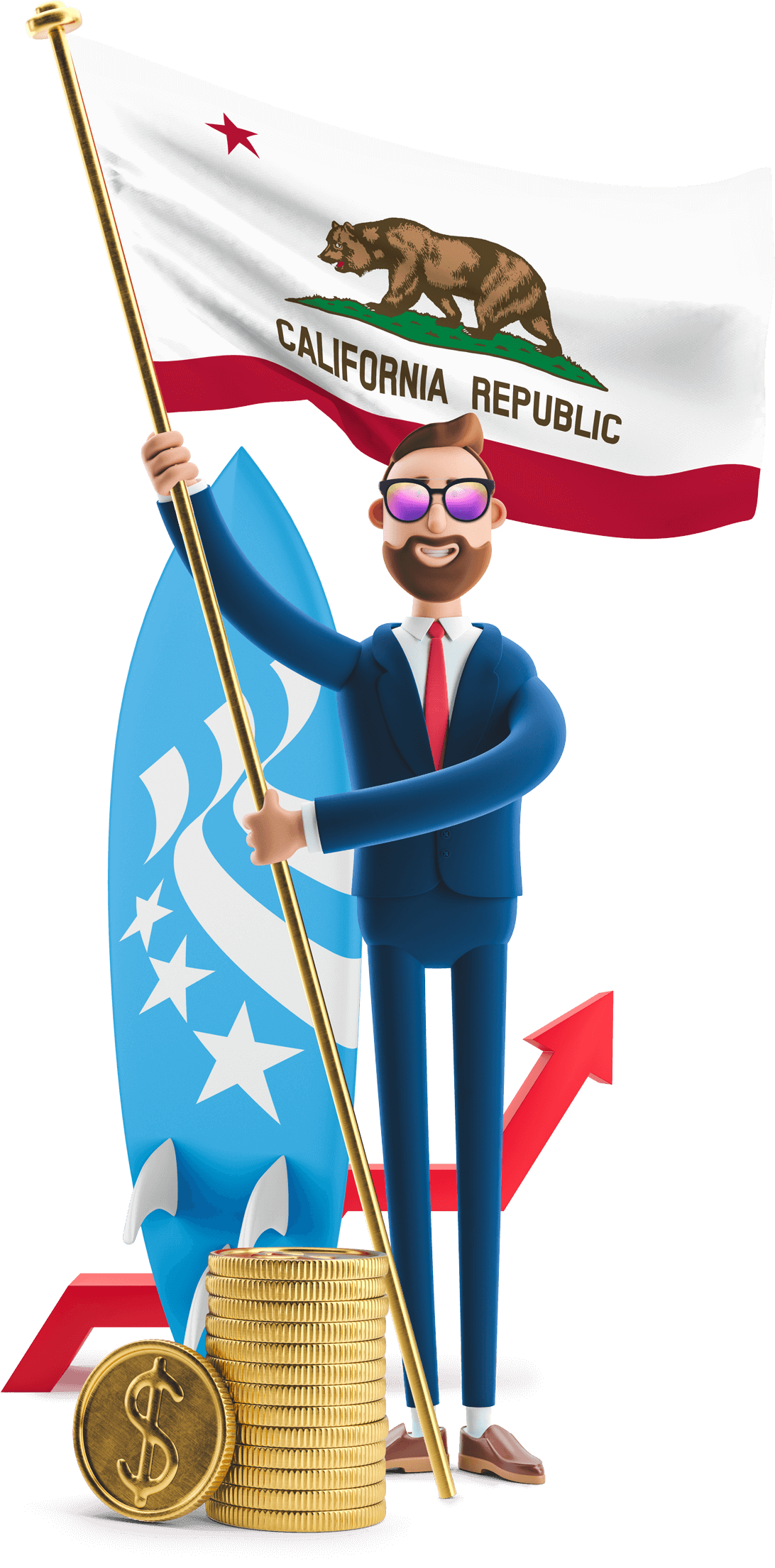 California flag held by MetCredit USA businessman who's wearing sunglasses and standing beside a surfboard and a stack of oversized coins