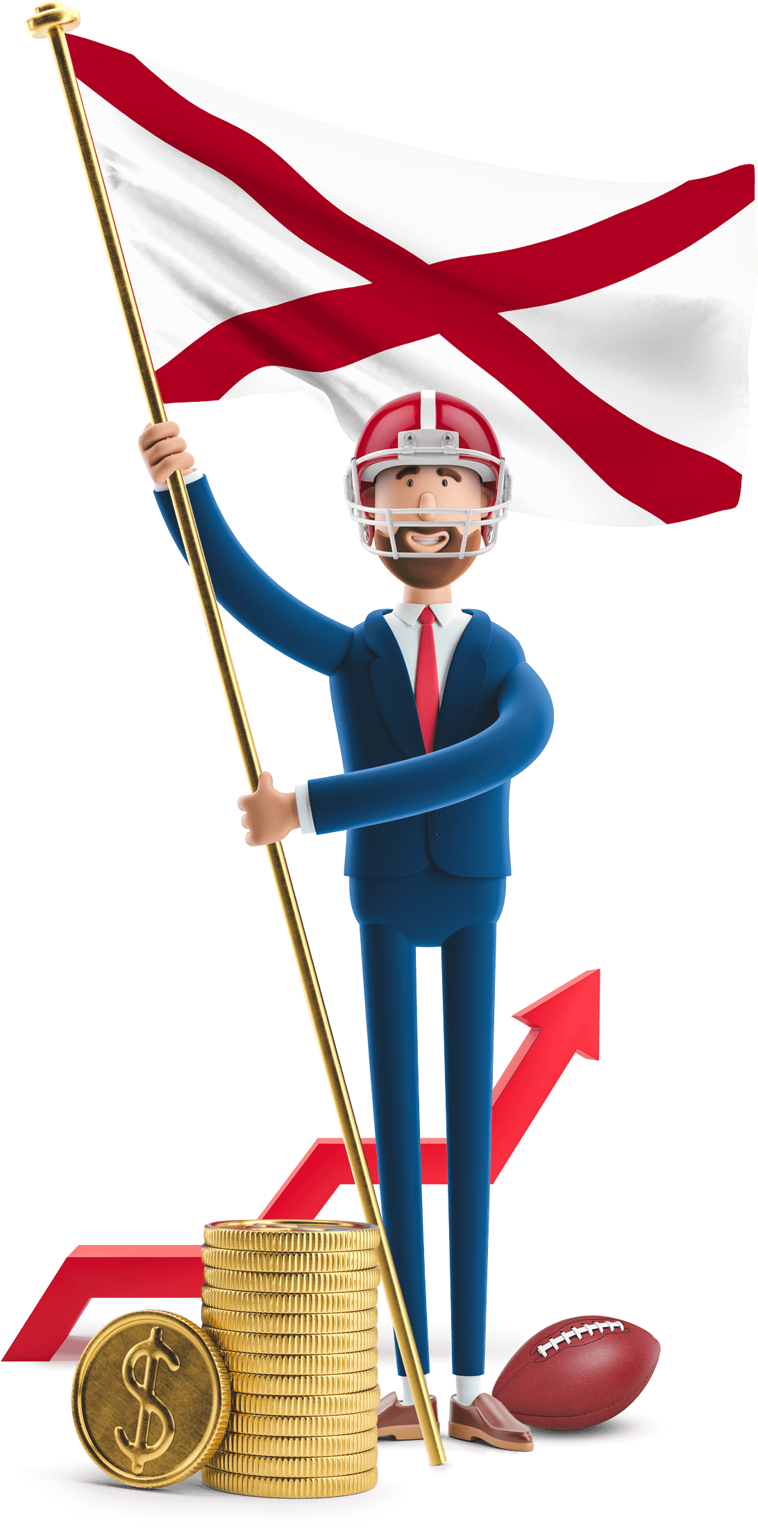 Alabama flag held by MetCredit USA businessman who's wearing a football helmet