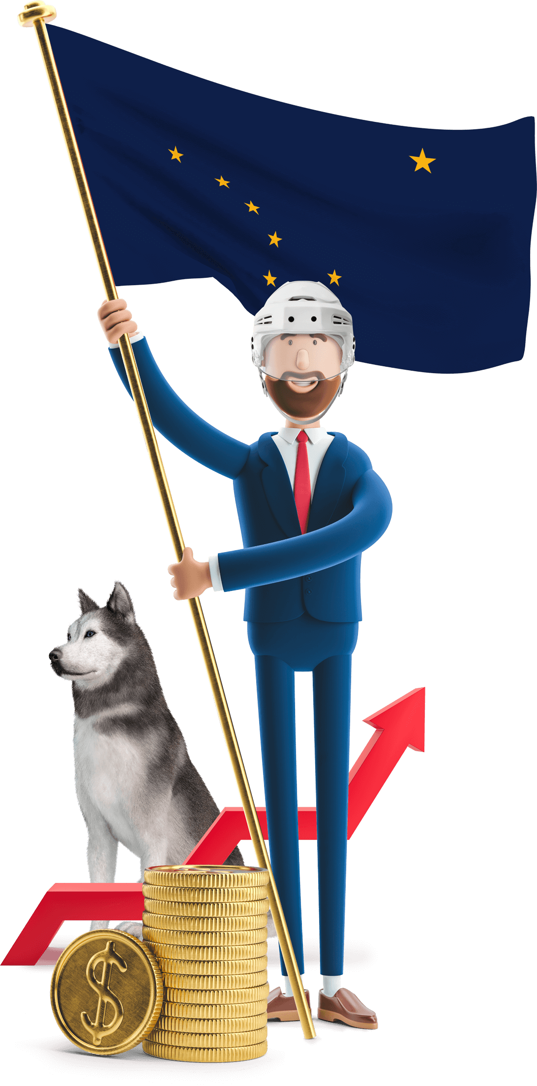 Alaska flag held by MetCredit USA businessman who's wearing a hockey helmet and standing next to a husky
