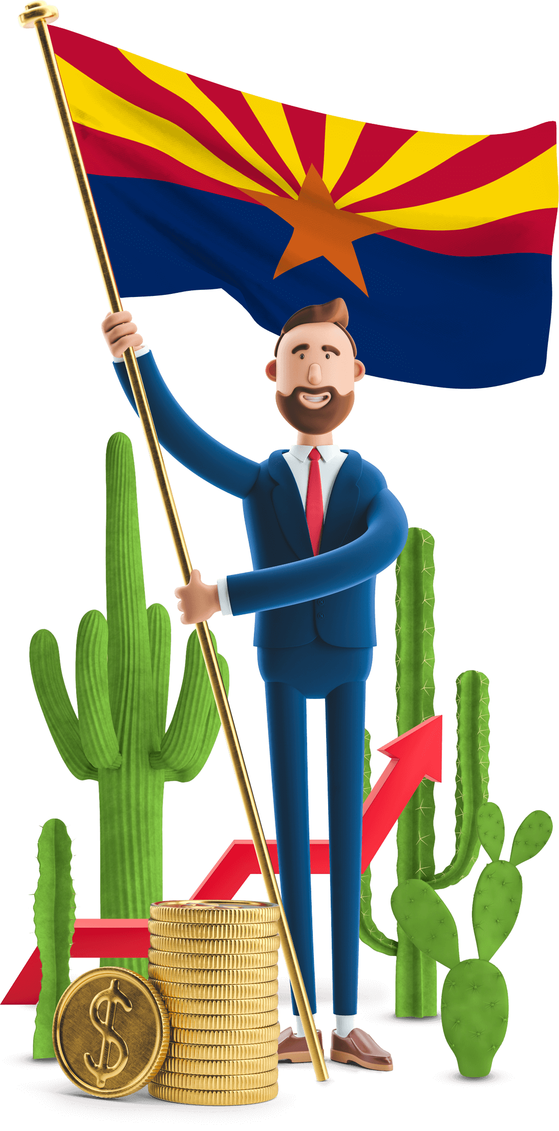 Arizona flag held by MetCredit USA businessman who's standing beside several cacti