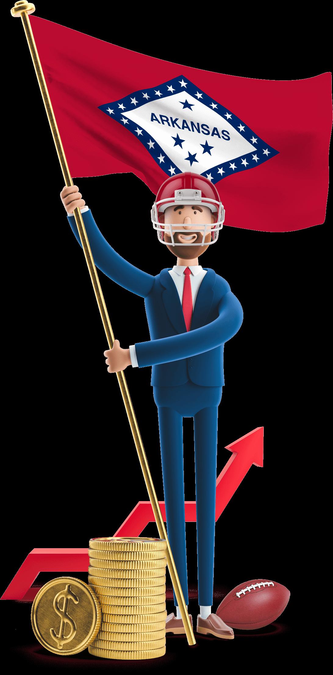 Arkansas flag held by MetCredit USA businessman who's wearing a football helmet