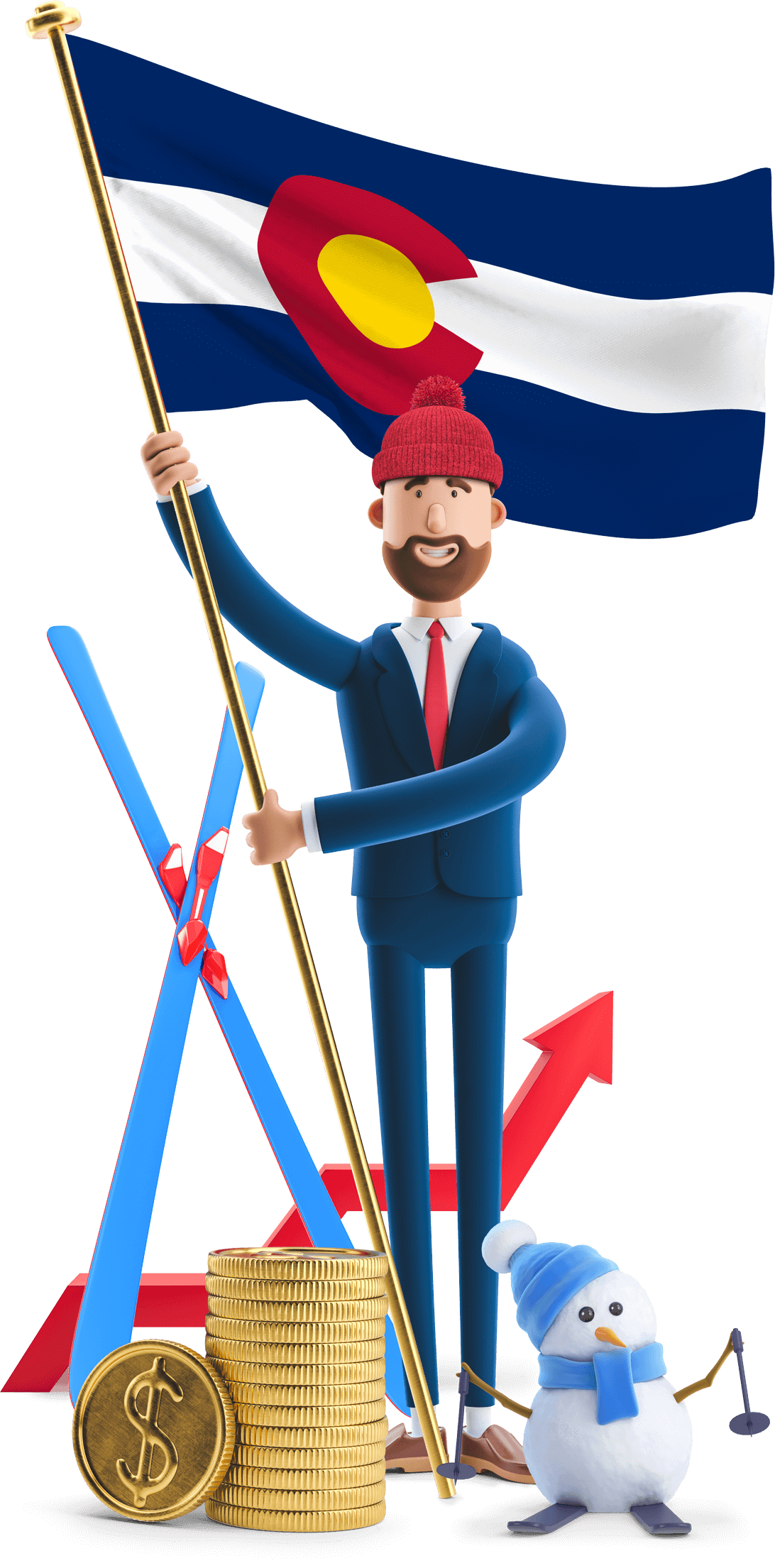 Colorado flag held by MetCredit USA businessman who's wearing a beanie and standing beside skis and a snowman