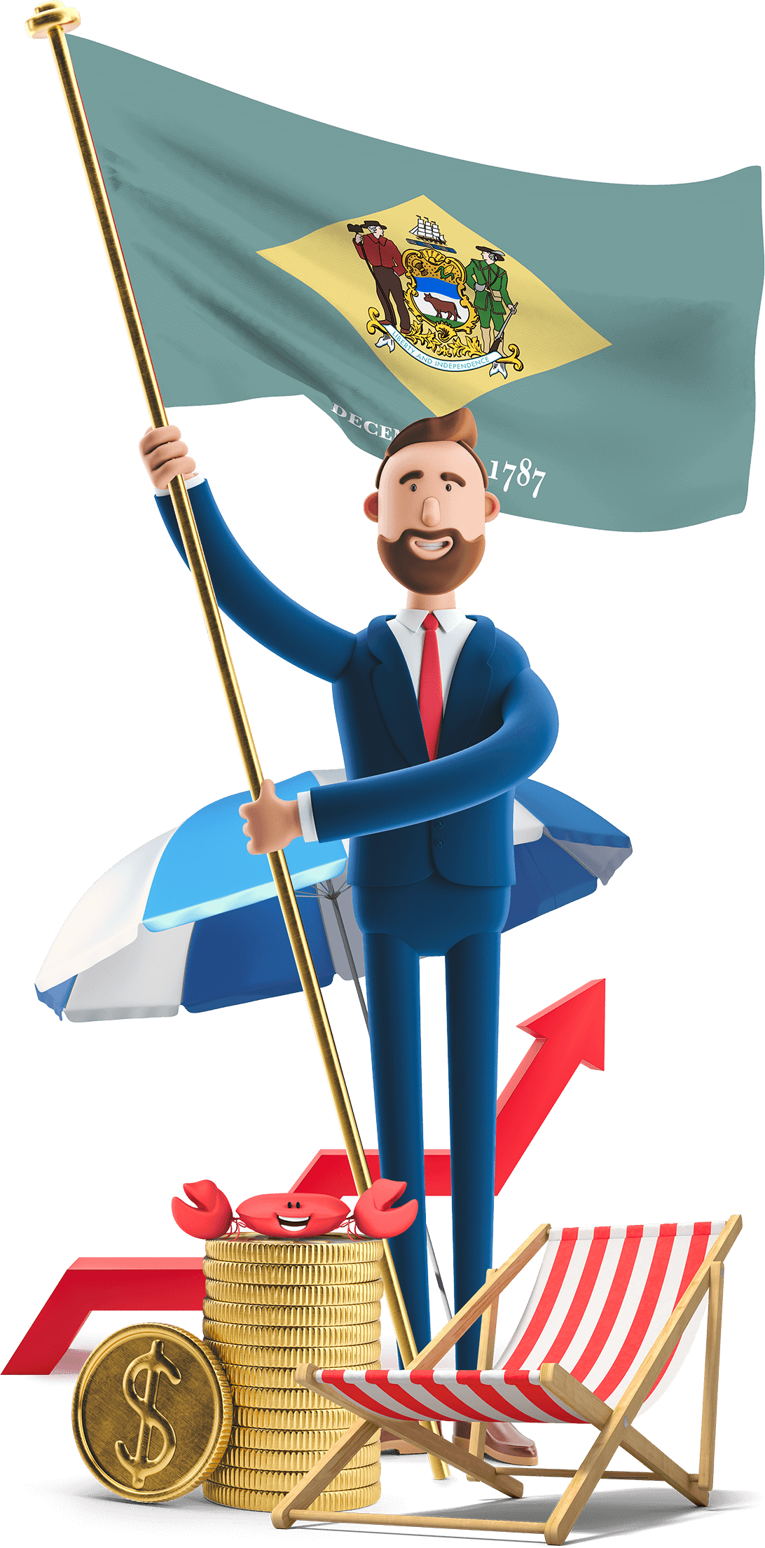 Delaware flag held by MetCredit USA businessman who's standing beside a beach chair and umbrella and there's a crab on a stack of oversized coins near his feet