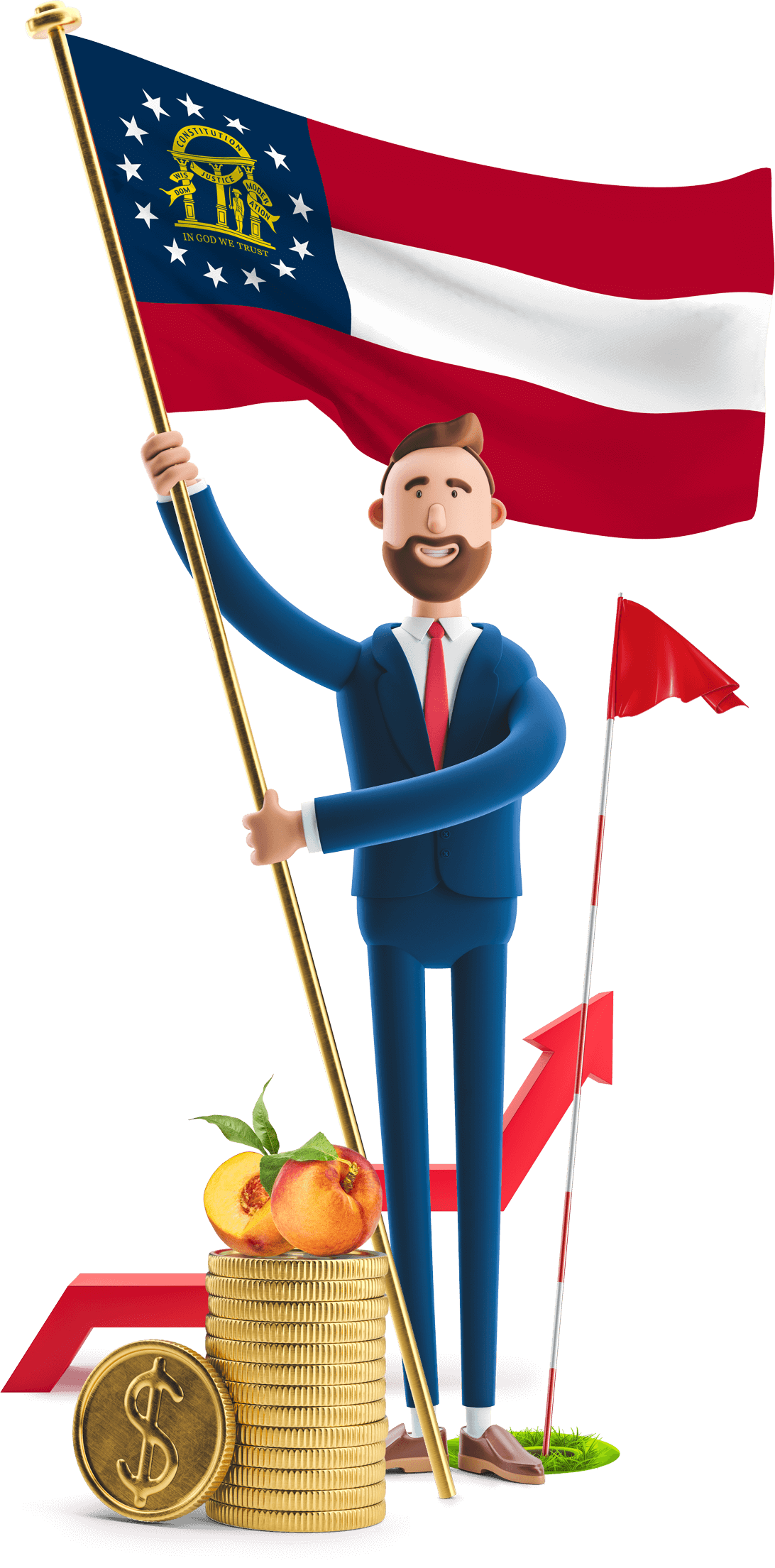 Georgia flag held by MetCredit USA businessman who's standing beside a golf hole and a couple of peaches are on a stack of oversized coins beside him