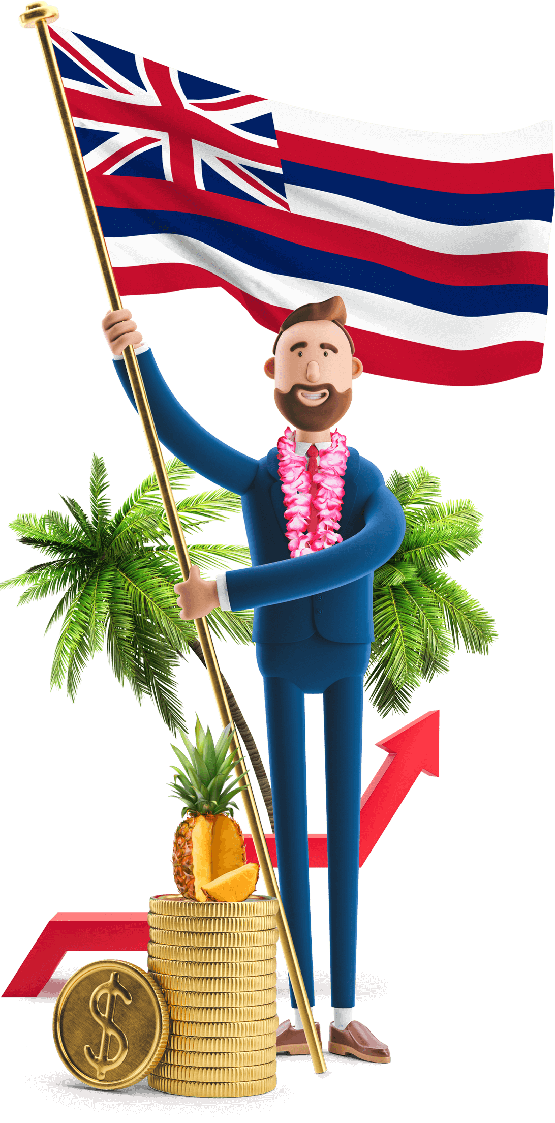 Hawaii flag held by MetCredit USA businessman who's wearing a lei and standing in front of some palm trees. A pineapple is sitting on a stack of oversized coins