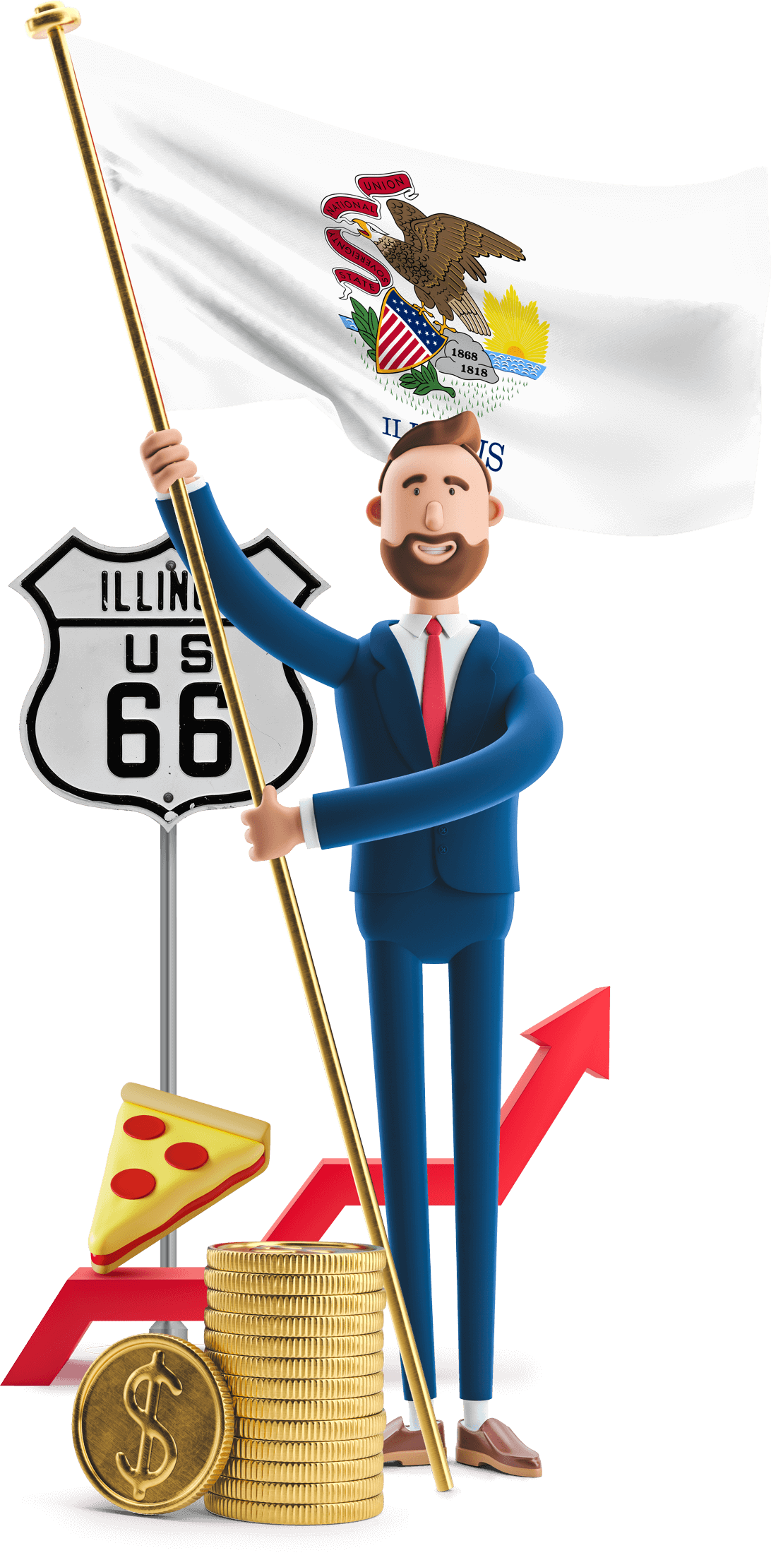 Illinois flag held by MetCredit USA businessman who's standing beside the Route 66 sign and a piece deep dish pizza is balancing nearby