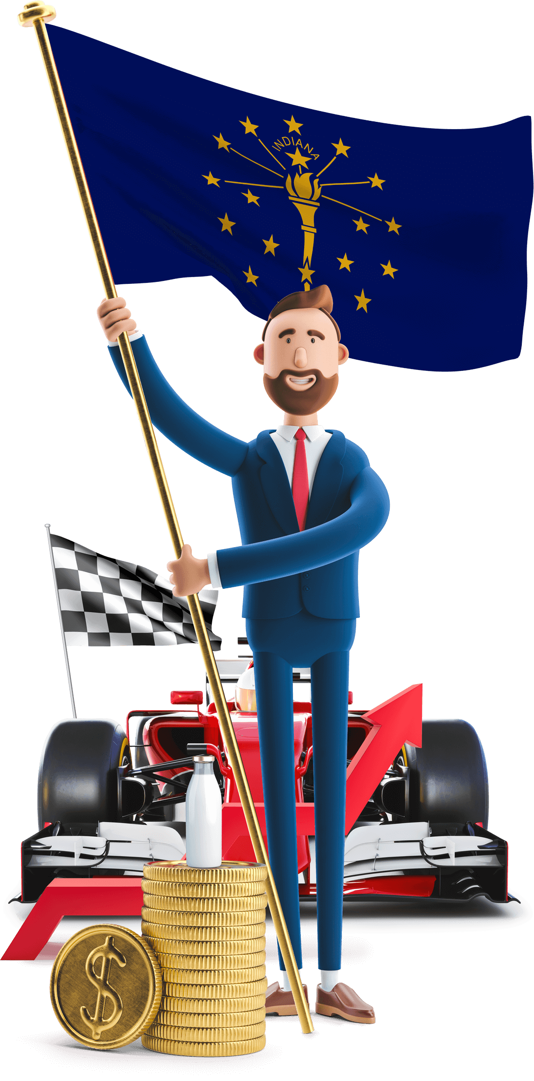Indiana flag held by MetCredit USA businessman who's standing in front of a race car