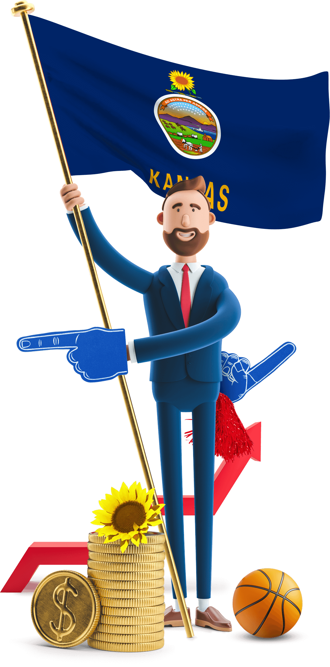 Kansas flag held by MetCredit USA businessman who's wearing a we're number 1 foam finger with a basketball at his feet and a sunflower on an oversized stack of coins