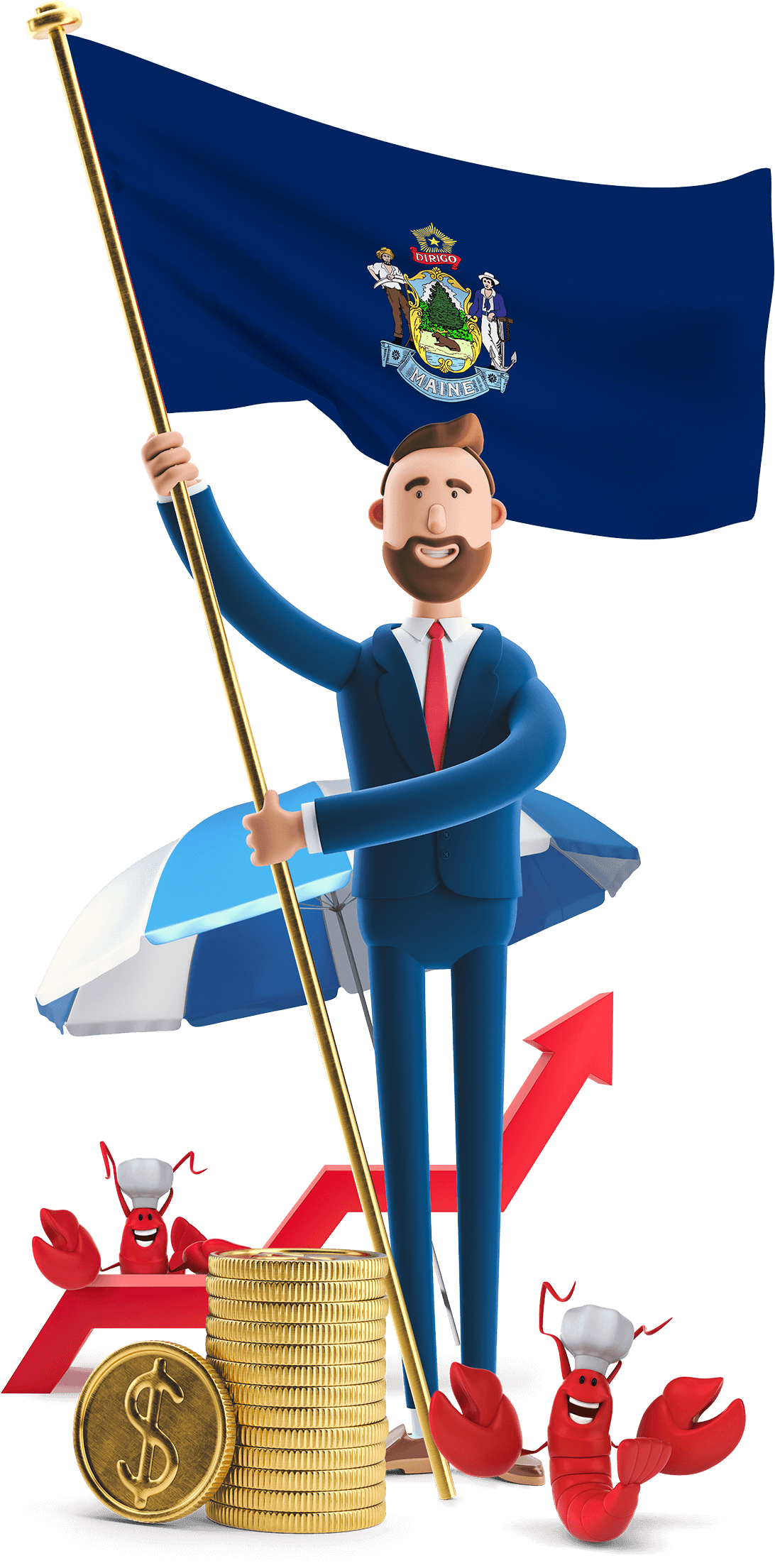 Maine flag held by MetCredit USA businessman who's standing beside a beach umbrella and lobsters with chef hats are at his feet
