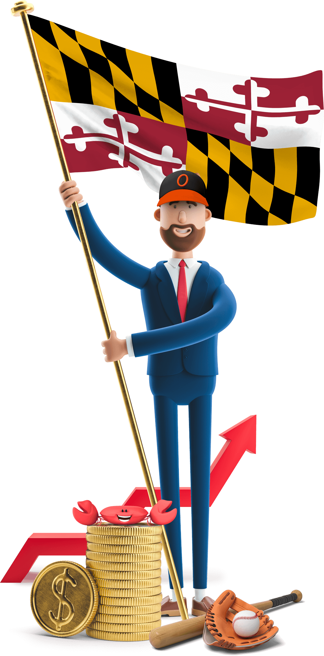 Maryland flag held by MetCredit USA businessman who's wearing a baseball cap and has a bat, glove and ball at this feet. There's also a crab on a stack of oversized coins.