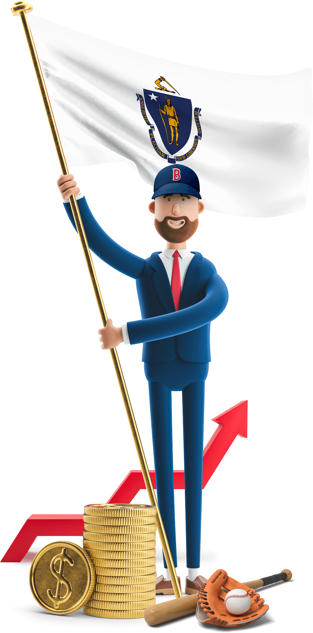 Massachusetts flag held by MetCredit USA businessman who's wearing a baseball cap and has a bat, glove and ball at this feet