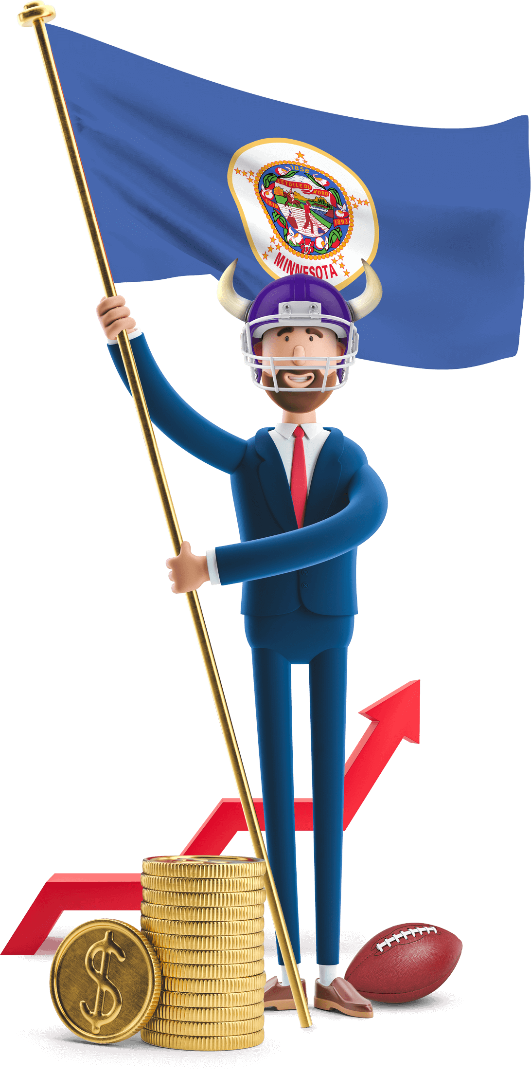 Minnesota flag held by MetCredit USA businessman who's wearing a football helmet with horns and a football at his feet
