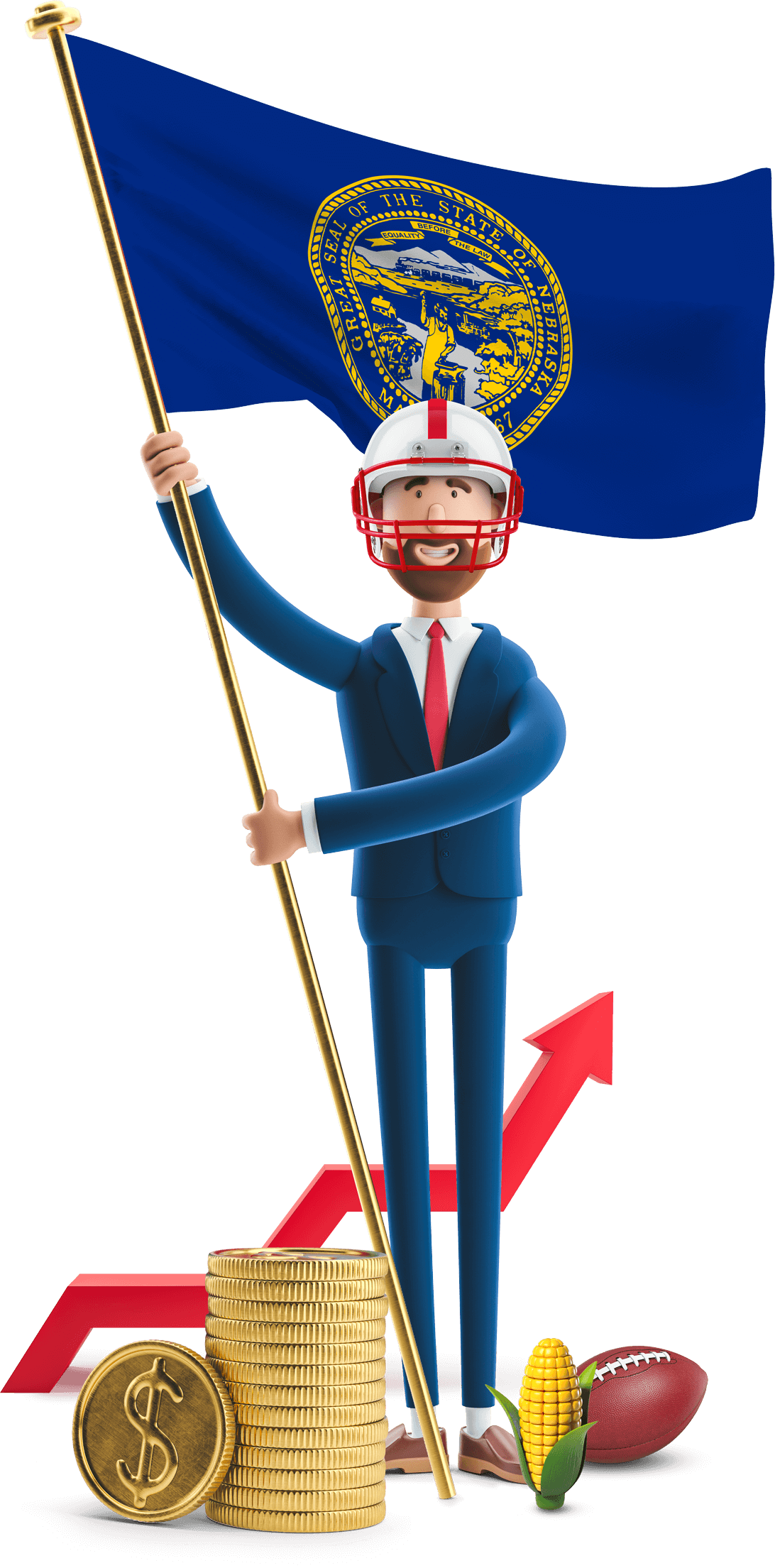 Nebraska flag held by MetCredit USA businessman who's wearing a football helmet and a football and a cob of corn are at his feet