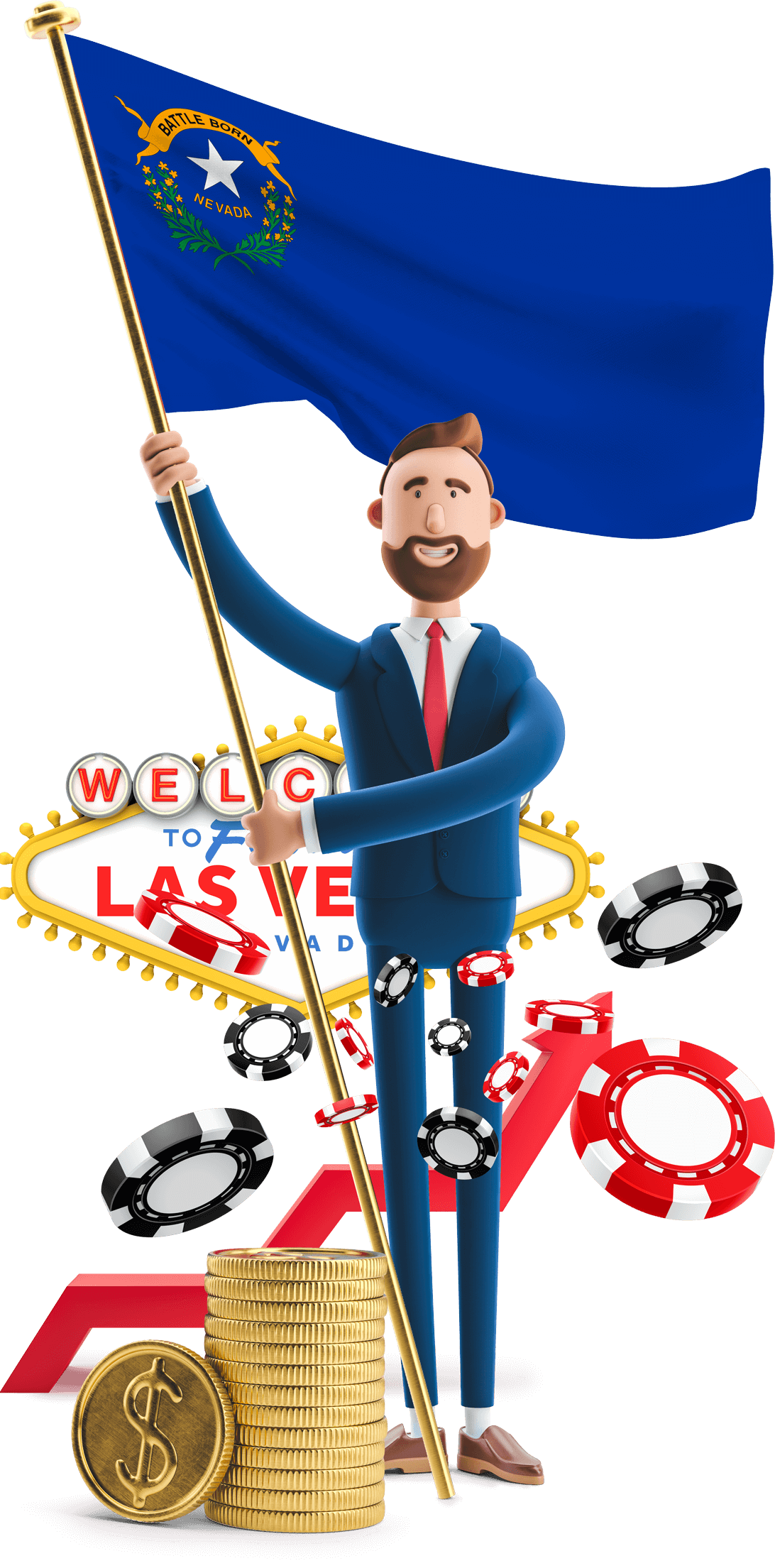 Nevada flag held by MetCredit USA businessman who's standing in front of the Welcome to Las Vegas sign with giant poker chips hovering around