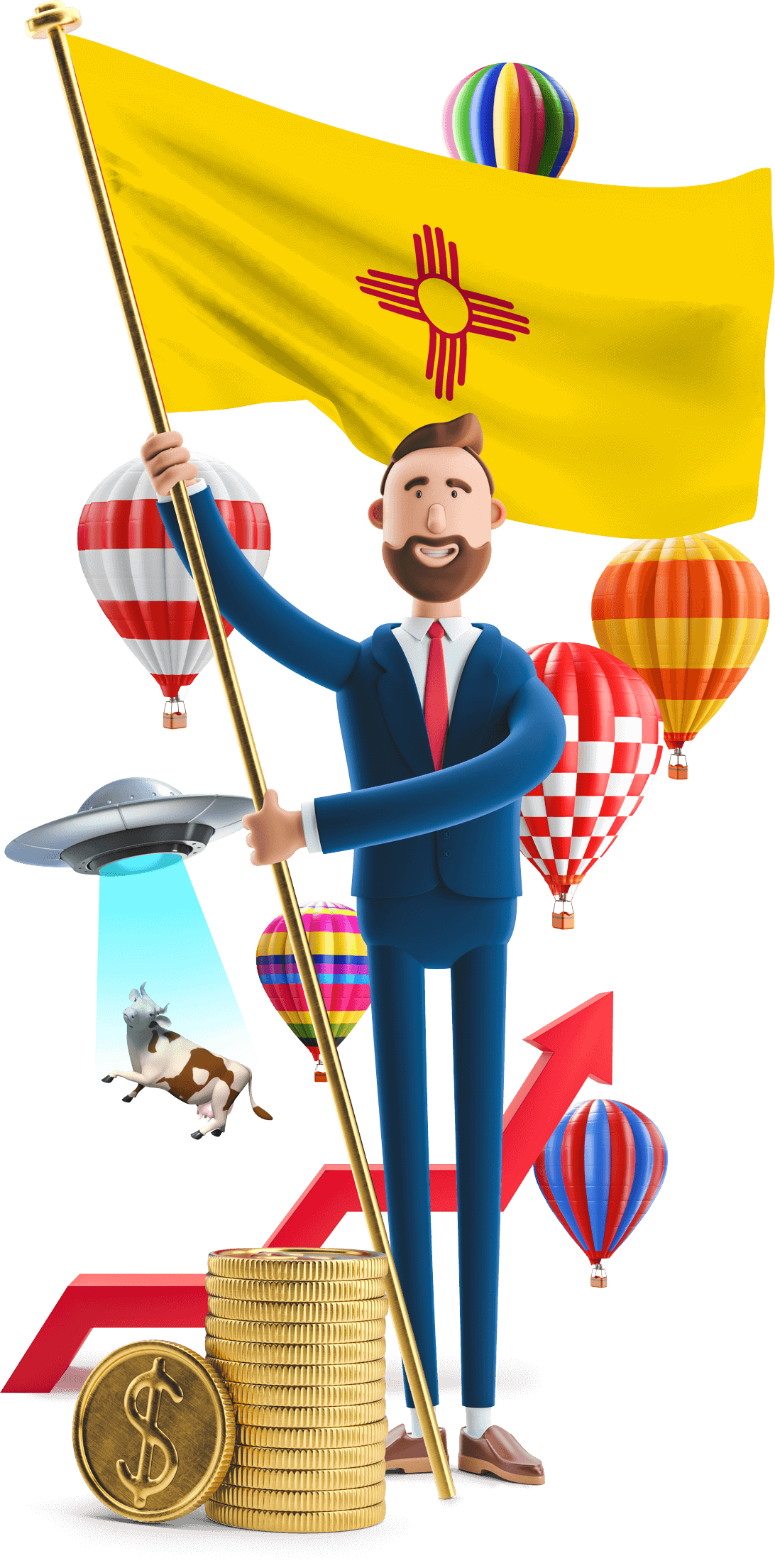 New Mexico flag held by MetCredit USA businessman who's standing in front of hot air balloons and a UFO that's beaming up a cow