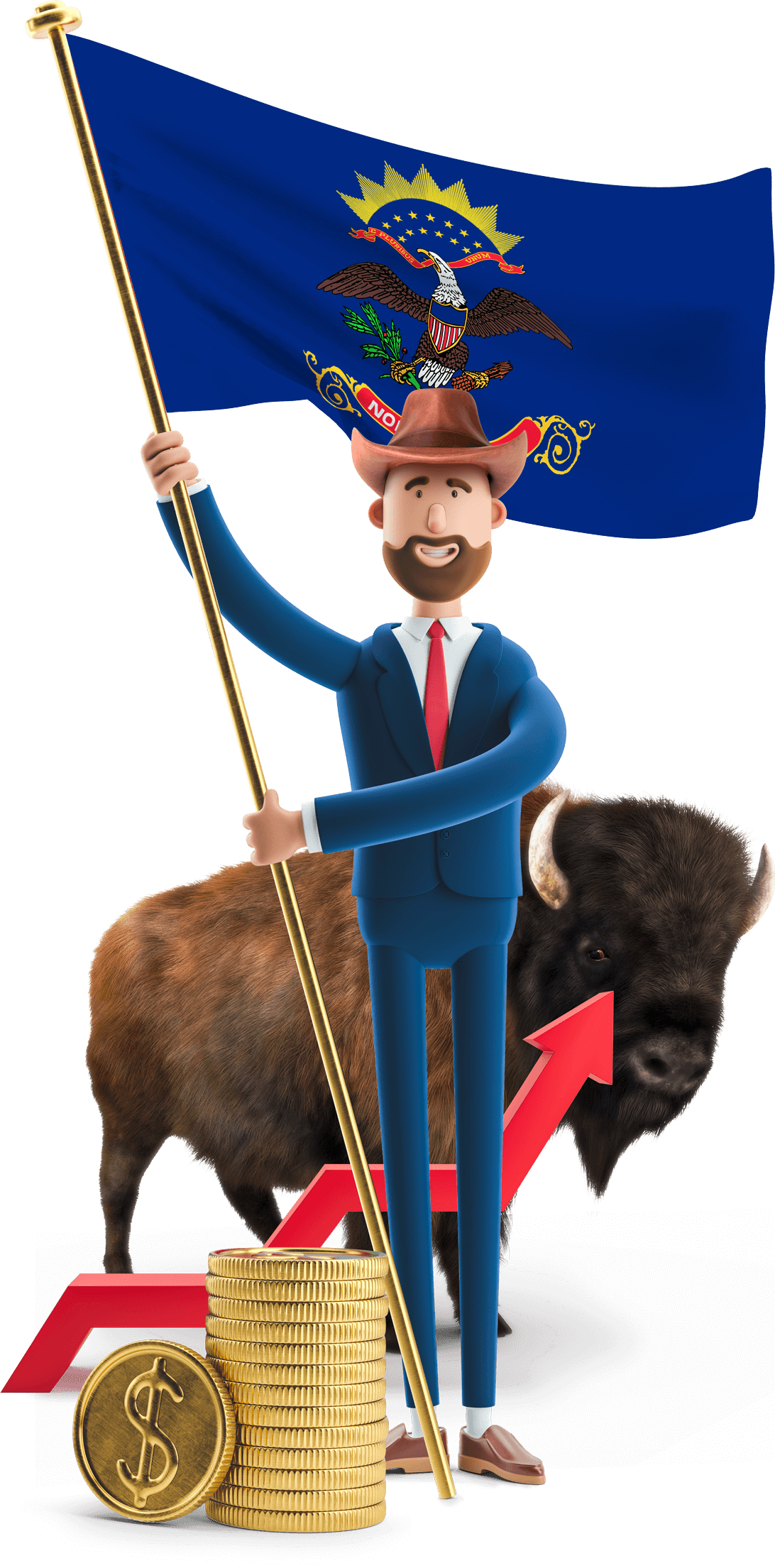 North Dakota flag held by MetCredit USA businessman who's wearing a hat and a bison is standing in the background