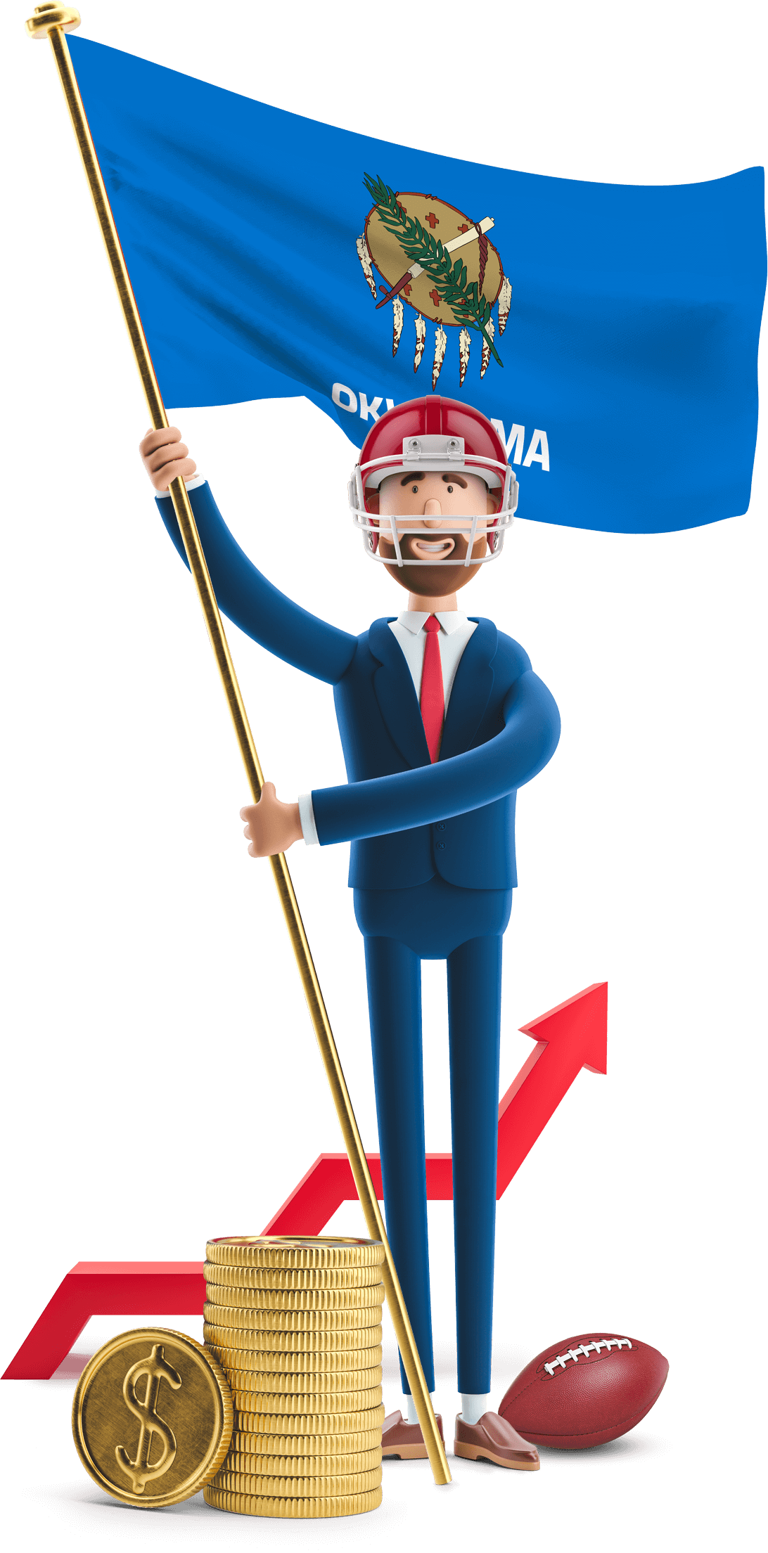 Oklahoma flag held by MetCredit USA businessman who's wearing a football helmet