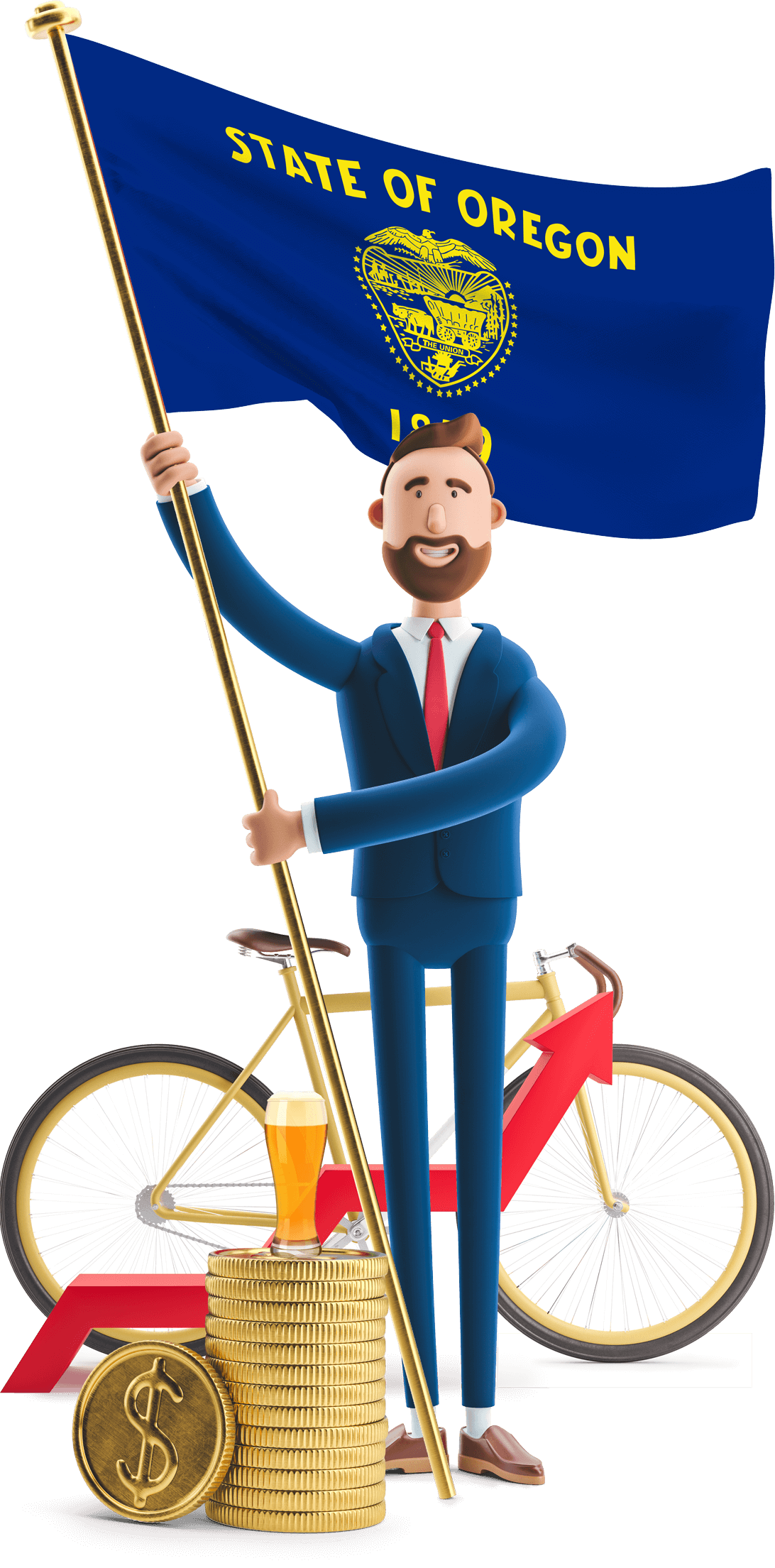 Oregon flag held by MetCredit USA businessman who's standing in front of a bicycle with a craft beer on a stack of oversized coins beside him
