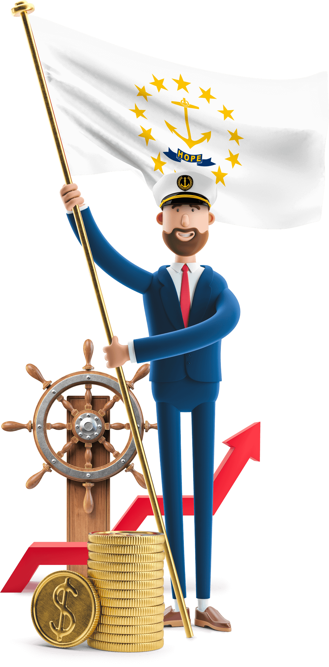Rhode Island flag held by MetCredit USA businessman who's wearing a captain's hat and standing beside the helm