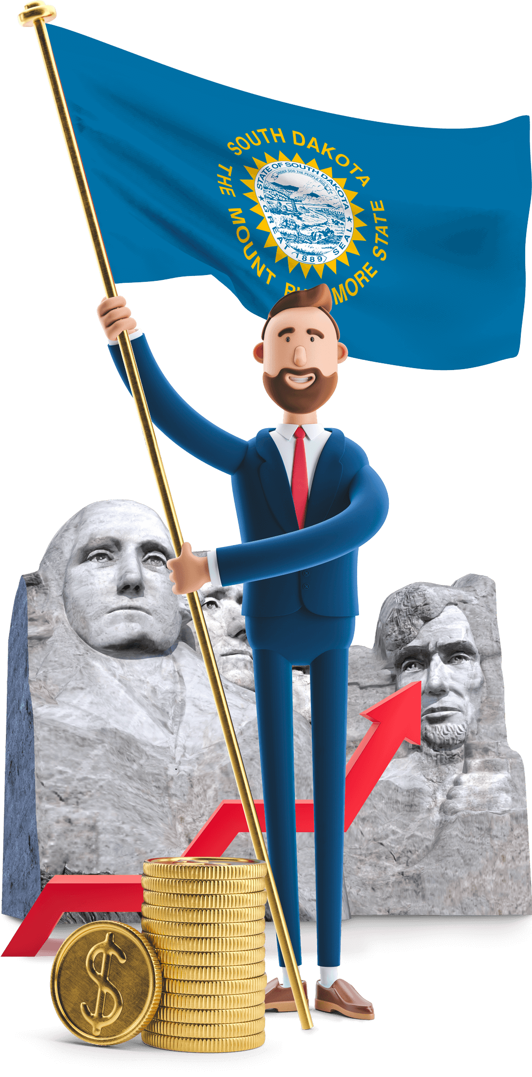 South Dakota flag held by MetCredit USA businessman who standing in front of Mount Rushmore