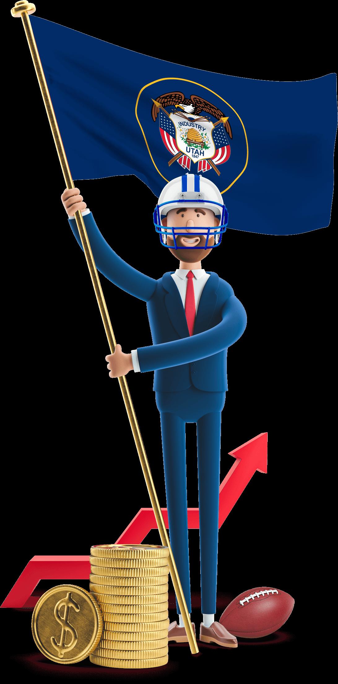 Utah flag held by MetCredit USA businessman who's wearing a football helmet