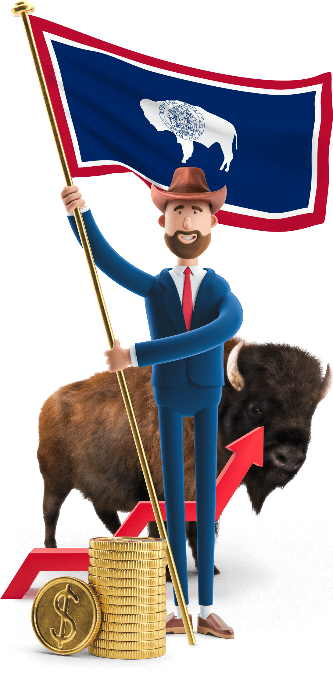 Wyoming flag held by MetCredit USA businessman with a bison in the backgroung