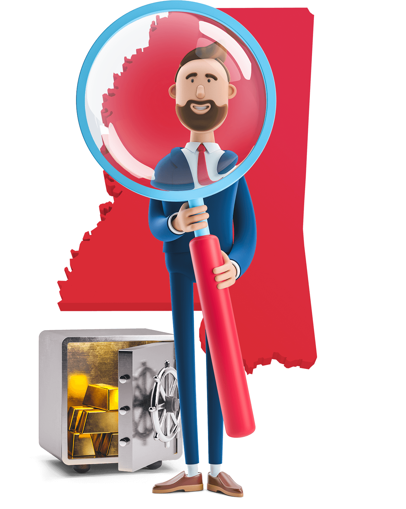 Mississippi state map outline with MetCredit USA businessman holding a magnifying glass with a safe full of gold bars beside him