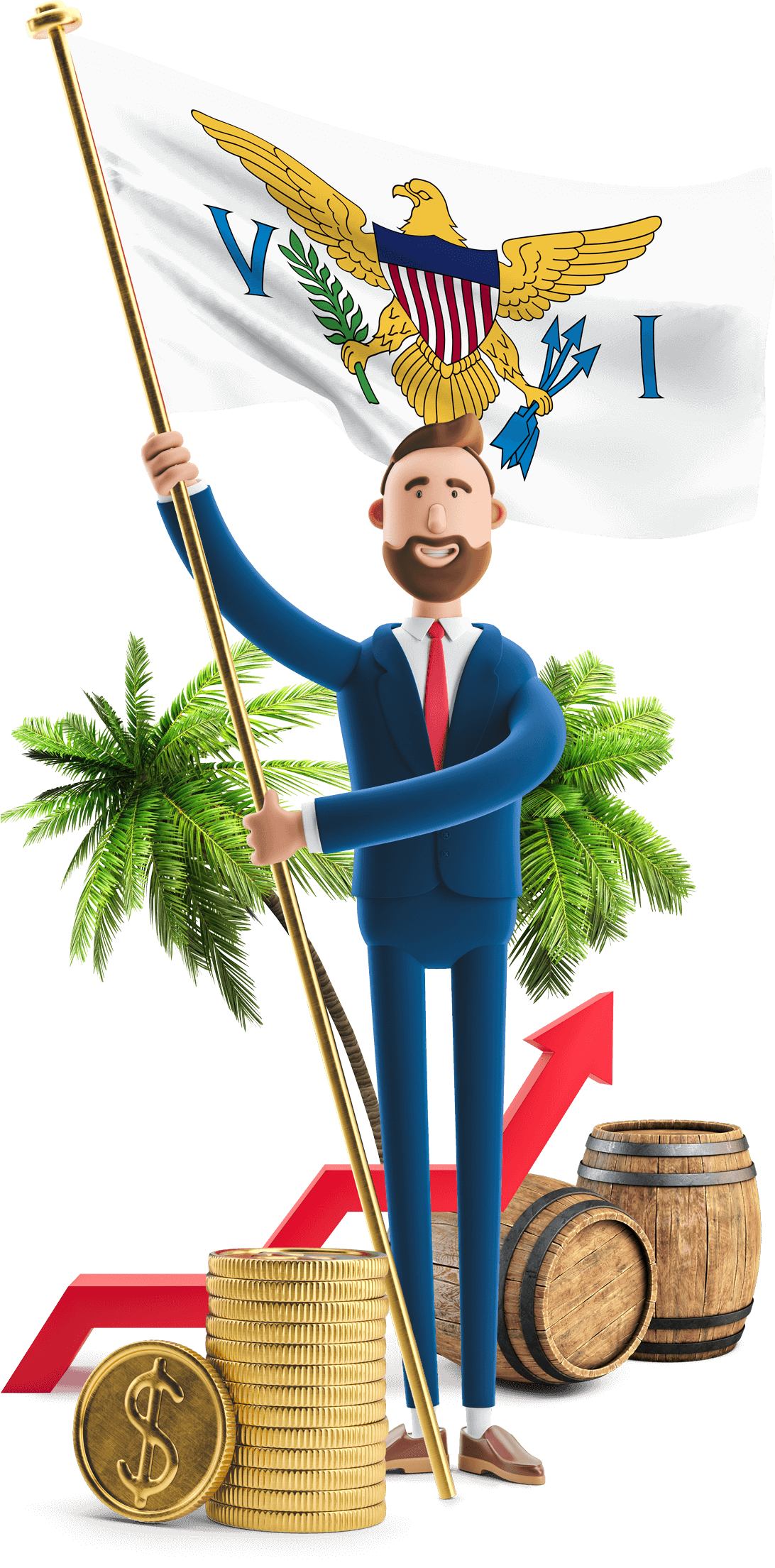 US Virgin Islands flag held by MetCredit USA businessman who standing in front of palm trees